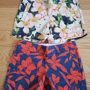 2 J Crew women shorts printed size 0
